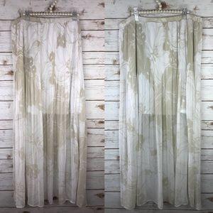 TOV Holy Beige Pleated Beige White Maxi Skirt